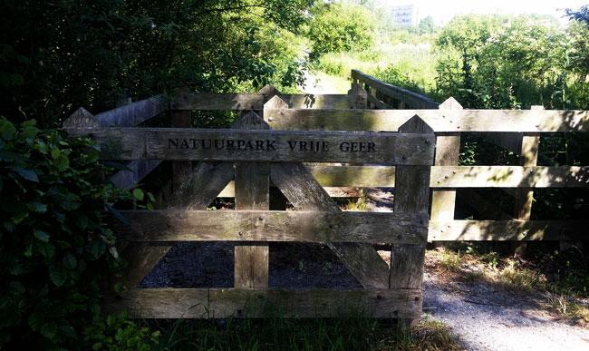 Een van de ingangen van natuurpark Vrije Geer