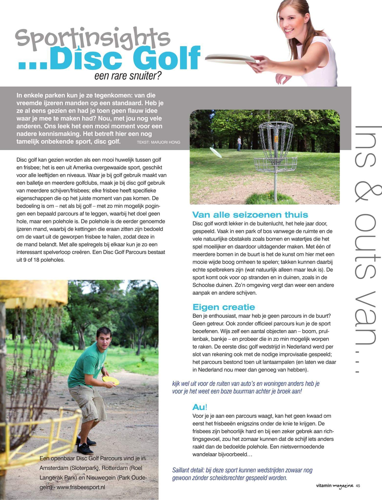 Disc Golf - Artikel Marjori Hong