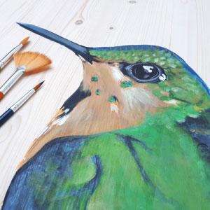 Beschilderde kist/: vogel