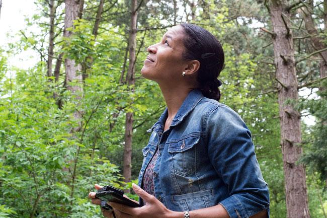 Marjori Hong bij de lepelaars in Sloterpark Amsterdam Nieuw-West