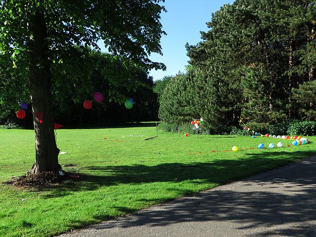 Restanten van een feestje in het park: slingers en ballonnen